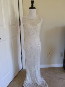 White House | Black Market Ivory Sequined & Beaded Sleeveless Scoop Neckline Gown Wedding Dress