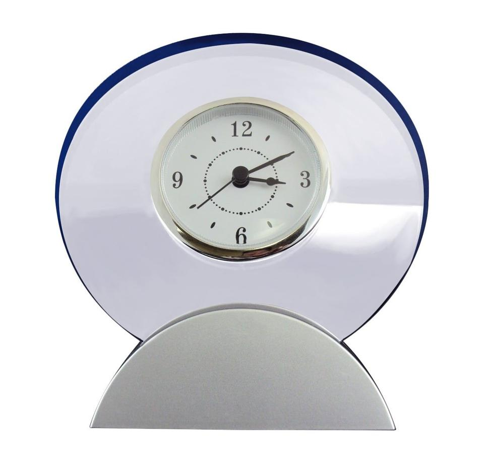 Silver Modular Desk Clock Analog Dial In Round Transparent Acrylic