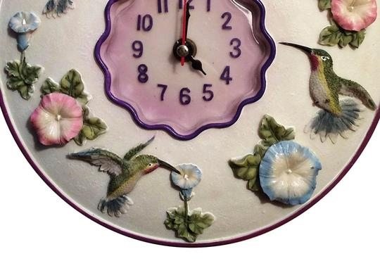 "Other Hummingbirds Clock, 8"" Round, 3D Polystone - Bedroom, Home Decor."