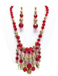 Other Red & Gold Necklace and Earring (Pierced) Set [ Roxanne Anjou Closet ]