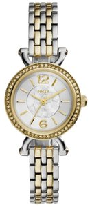 Fossil Georgia Silver Dial Ladies Two Tone Watch