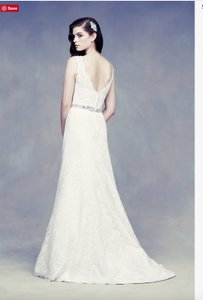 Paloma Blanca Champagne Lace Gown Style #4305 Traditional Dress Size 8 (M)