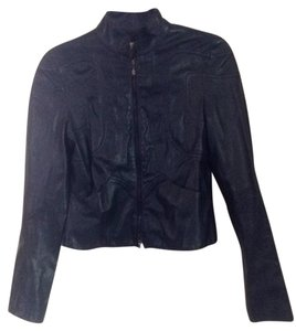Emporio Armani Navy blue Leather Jacket