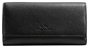 Coach F53708 Coach Trifold Wallet in Pebble Leather Black Color