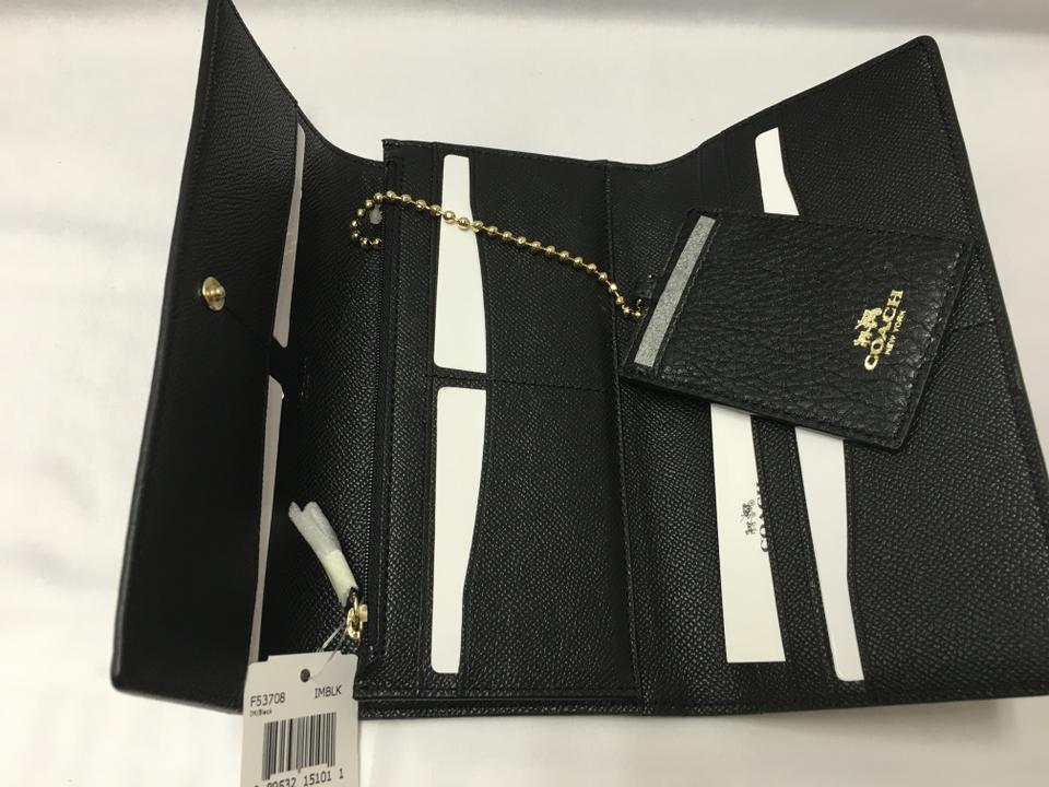 new concept 11c59 055d0 Coach Black F53708 Trifold In Pebble Leather Color Wallet 60% off retail