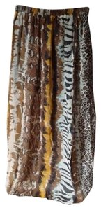 Rachael & Chloe Animal Print Sheer Maxi Skirt Neutrals