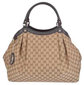 Gucci Large Canvas Gg Tote in Brown