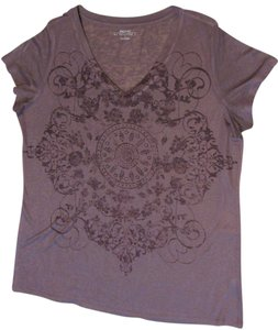 Daisy Fuentes Plum Crystal Short Sleeve V-neck Favorite T T Shirt Heather Plum