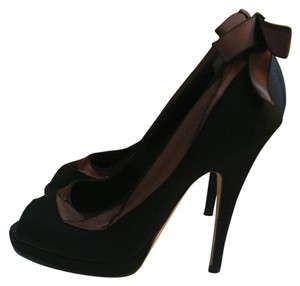 Dolce&Gabbana 2 Tone Open Toe Bows Dolce And Gabbana Black with Brown Accents Pumps