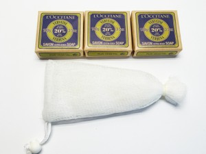 L'Occitane L' Occitane 3- Bars, Soap Exfoliation Mesh, Shower Hat [ Roxanne Anjou Closet ]