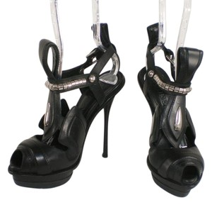 Alexander McQueen Silver Hardware Open Toe Black Pumps