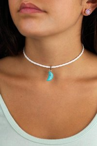 Daisy Del Sol Handmade Turquoise Moon White Braided Leather Choker