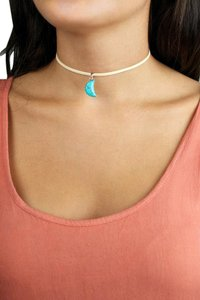 Daisy Del Sol Handmade Turquoise Moon Braided Leather Choker