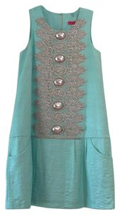 Manoush short dress Tiffany blue and silver on Tradesy