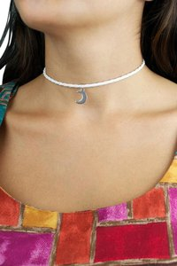 Daisy Del Sol Handmade Silver Moon White Braided Leather Choker Necklace