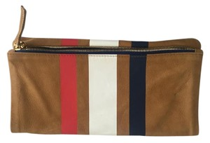 Clare V. Caramel with red, white and blue stripes Clutch