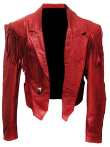 Cesar Arellanes Red Leather Jacket