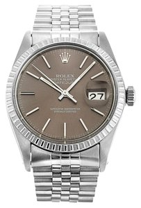 Rolex STAINLESS STEEL DATEJUST BROWN DIAL WATCH