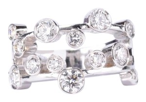 Criss-Cross Diamonds Set In 18K White Gold Ring