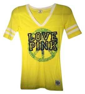 Pink Yellow Strips On Sleeves T Shirt Yellow, Green Peace Sign