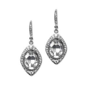 Mariell Framed Oval Drop Earrings For Wedding Or Special Occasion 4337e-cr-s