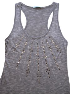Grey with Silver and Gold Studded Design in Front Halter Top