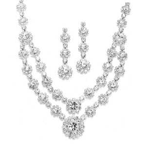 Mariell Regal Silver Two Row Rhinestone Neck Set 3228s-cr