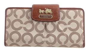Coach * Signature Checkbook Wallet Kahki / Pink for Women