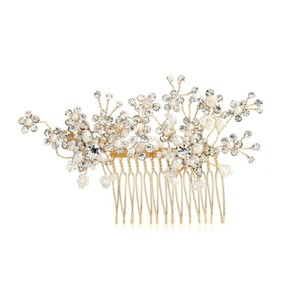 Mariell Golden Bridal Hair Comb With Cascading Crystal & Freshwater Pearl Flowers 4170hc