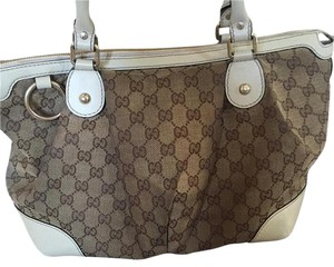 Gucci Satchel in Brown Cream Leather