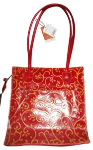 Rosetti Leather Red Zipper Closure Tote in Red/Gold
