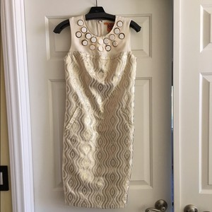 Tory Burch Neutral Day Party Shimmer Dress