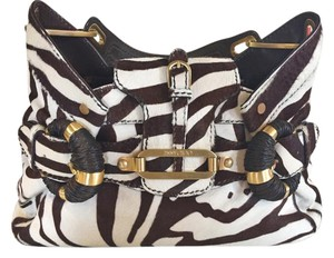 Jimmy Choo Zebra Gold Hardware Satchel in Brown