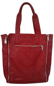 Christopher Kon Co-lab Non-animal Material Large Zipper Enbellished Tote in Red
