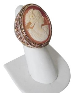 AMEDEO AMEDEO NYC 30MM Large Cornelian Cameo Open Swirl Ring Size 8