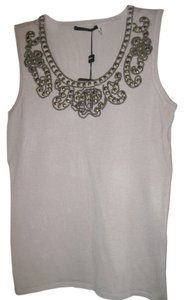 Cyrus Top Beige with Neckline Studded Decoration