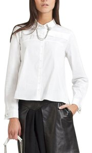 Anne Fontaine Removable Collar Stretch Button Down Shirt White
