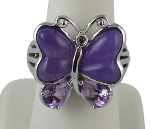 "Victoria Wieck Victoria Wieck Amethyst and Purple Quartz Sterling Silver ""Butterfly"" Ring - Size 6"