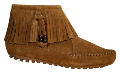Minnetonka Moccasin Fringe Feather Suede Brown/tan Boots