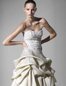 Monique Lhuillier Clementine Silk Organza Floral Beading Embroidery Strapless Sz 6/8 Wedding Dress