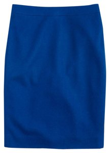 J.Crew Pencil Double-serge Wool Skirt Blue