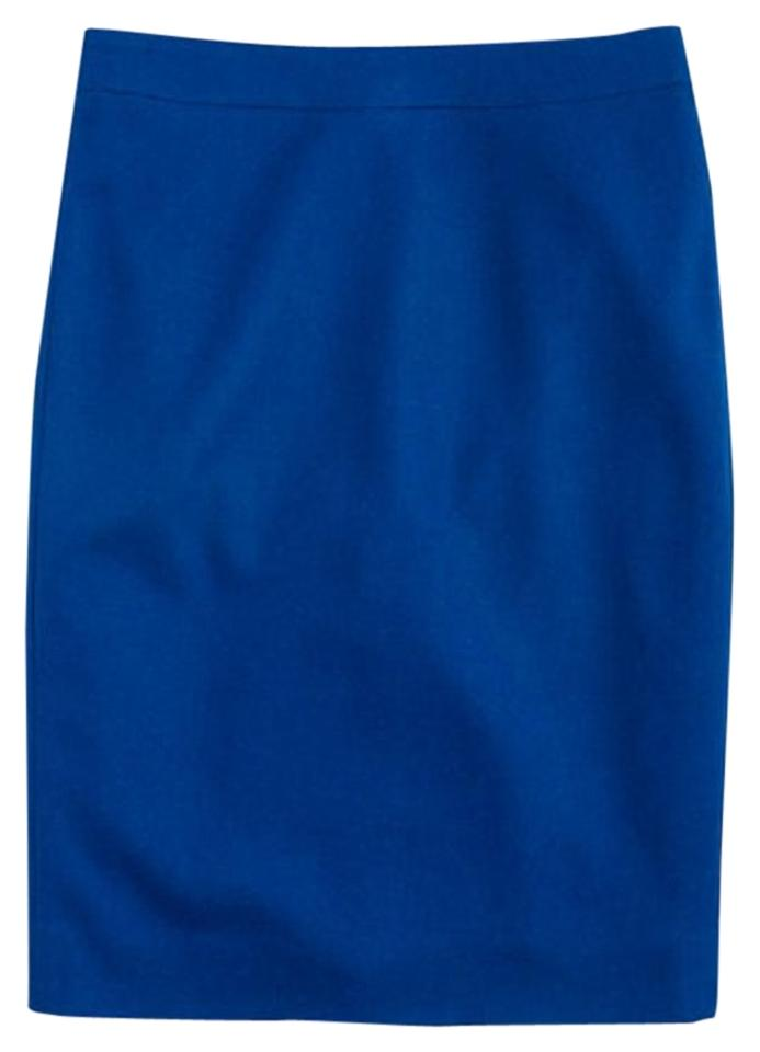 89edabc2bf J.Crew Blue No. Pencil In Double-serge Wool Skirt Size 2 (XS, 26 ...