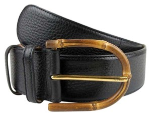 Gucci Womens Wide Black Leather Belt w/Bamboo Buckle 85/34 322955 1000