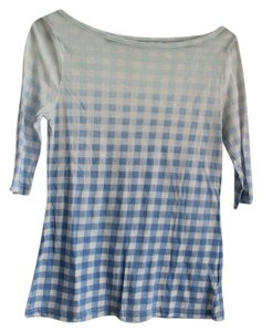 BDG Boatneck Checkered Ombre T Shirt Blue & White