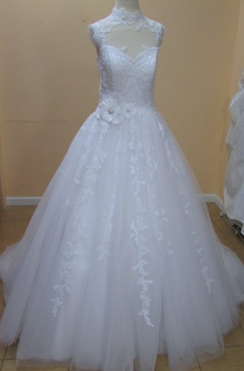 Alfred Angelo White Net/Lace 2502 Formal Wedding Dress Size 10 (M)