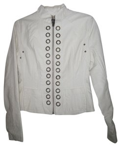 Solitaire by Ravi Koshla Brand New Cream Leather Jacket