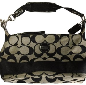 Coach Satchel in Black Signiture / Gray