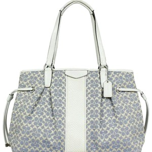 Coach Monogram Canvas Nwt Satchel in chambray, ivory, tan, gorgeous in person!