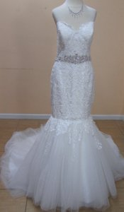 Alfred Angelo Ivory/Silver Lace 2526 Formal Wedding Dress Size 8 (M)