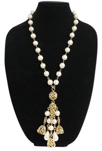 Chanel Faux Pearl & Glass Bead Necklace Bird Cage Bells 25